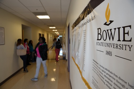 hallway with students at bowie state university